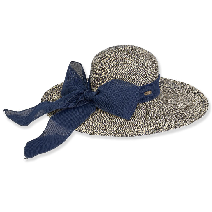 Navy Paperbraid Two Tone Tweed Sun Hat by Sun 'N' Sand®