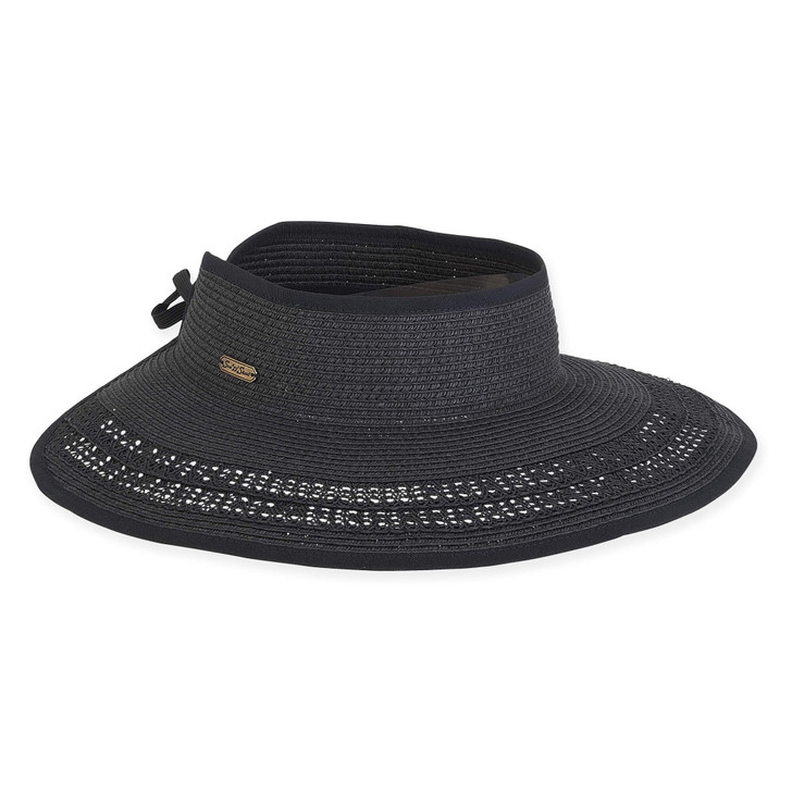 "Black Paperbraid ""Roll-up"" Wide Brim Visor Sun Hat by Sun 'N' Sand®"