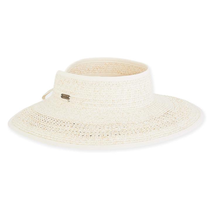 "Ivory Paperbraid ""Roll-up"" Wide Brim Visor Sun Hat by Sun 'N' Sand®"