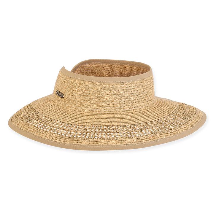 "Tan Paperbraid ""Roll-up"" Wide Brim Visor Sun Hat by Sun 'N' Sand®"