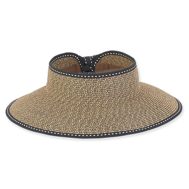 "Paperbraid ""Roll-up"" Wide Brim Visor Sun Hat by Sun 'N' Sand® - Black Trim"