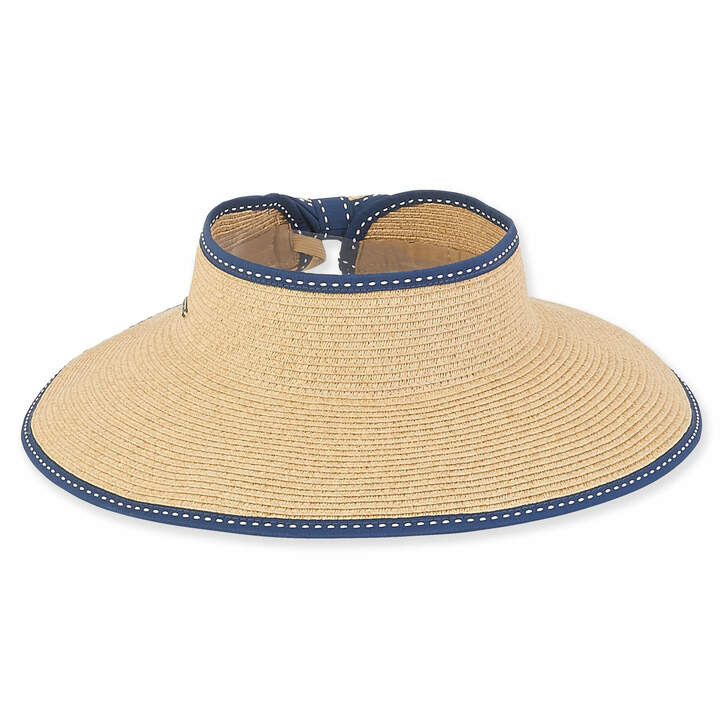 "Paperbraid ""Roll-up"" Wide Brim Visor Sun Hat by Sun 'N' Sand® - Navy Trim"