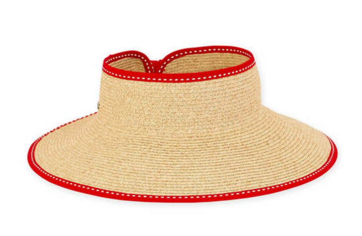 "Paperbraid ""Roll-up"" Wide Brim Visor Sun Hat by Sun 'N' Sand® - Red Trim"
