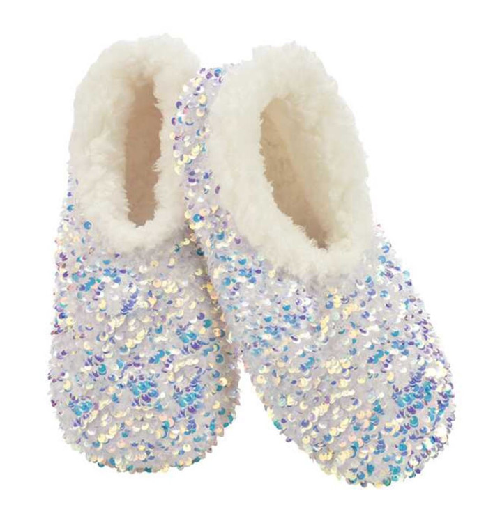 Women's Sequin Glam Snoozies!® Slippers - White/Opal