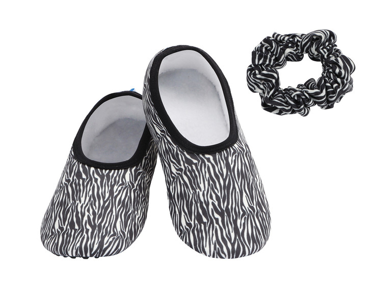 Skinnies® with Sole Snoozies!® Hard Sole Slippers - Zebra