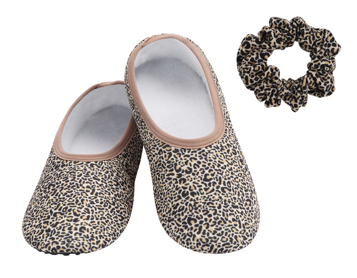 Skinnies® with Sole Snoozies!® Hard Sole Slippers - Leopard