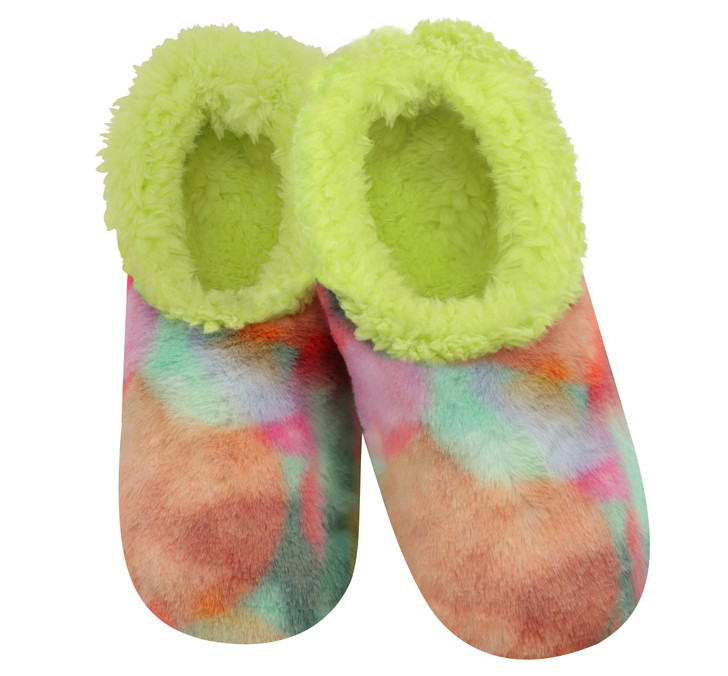 Women's Cotton Candy Tie Dye Faux Fur Snoozies! ® Slippers - Lime Green