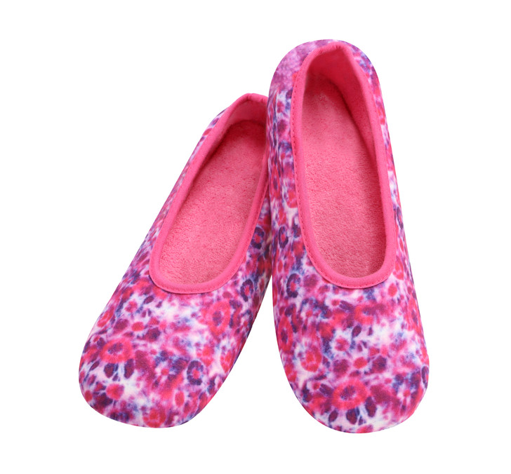 Women's Tie Dye Skinnies® Snoozies! ® Slippers with lightweight cushion insole - Hot Pink