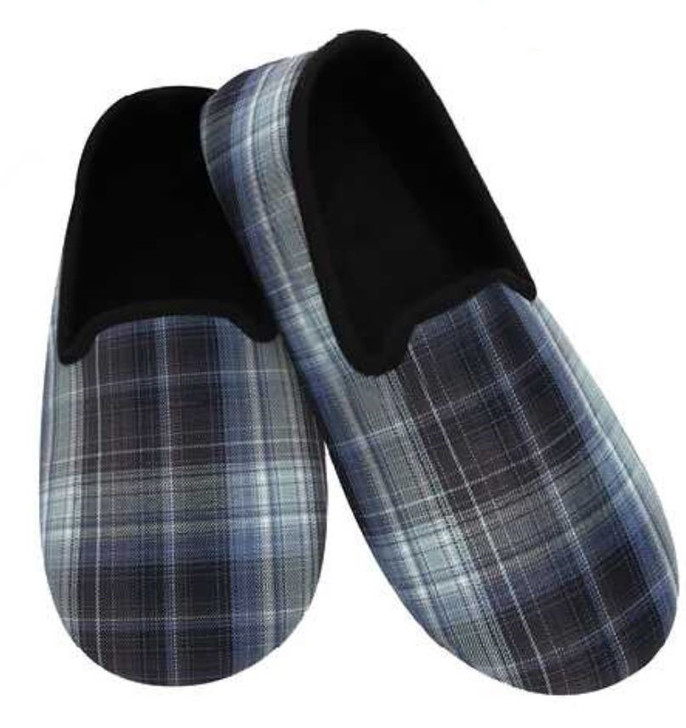 Men's Lightweight Plaid Snoozies® Slippers - Black