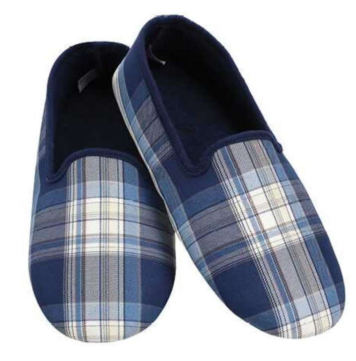 Men's Lightweight Plaid Snoozies® Slippers - Blue