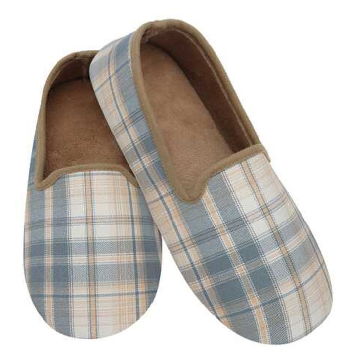 Men's Lightweight Plaid Snoozies® Slippers - Tan