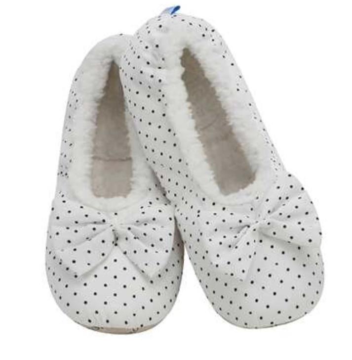 Women's Modern Ballerina Snoozies!® Slippers - White w/ black dots