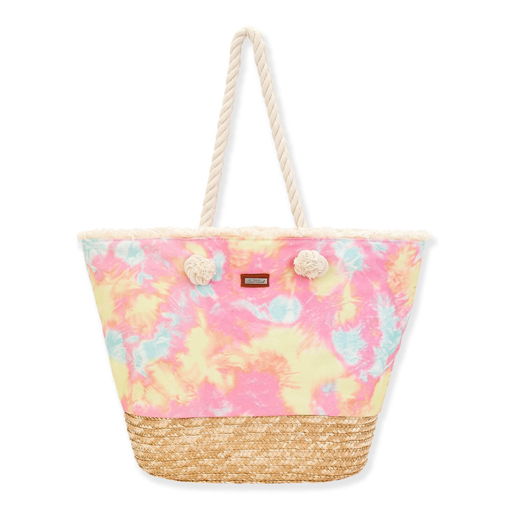 Shoulder Beach Tote by Sun N Sand - Cotton & Natural Straw, Pink/Pastel