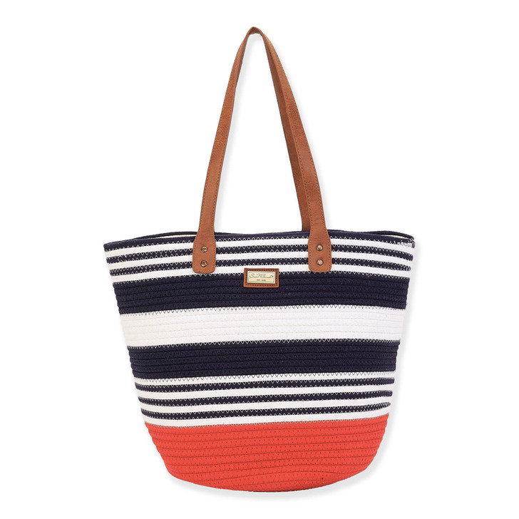 Poly /Cotton Striped Shoulder Tote by Sun N Sand - Red, Navy, and White