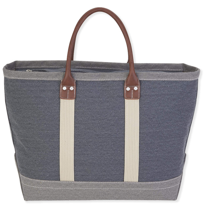 Grey Cotton Canvas Beach Tote/ Carryall tote by Sun N Sand
