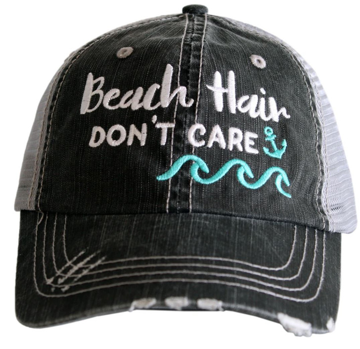 """""""Beach Hair, Don't Care"""" with Waves/Anchor Women's Trucker Hat"""