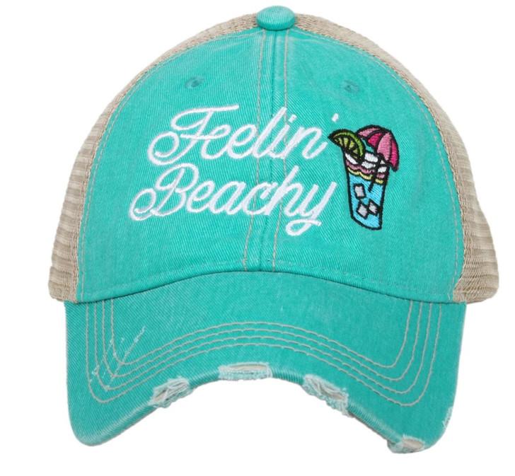 """""""Feelin' Beachy Women's Trucker Hat, Teal"""