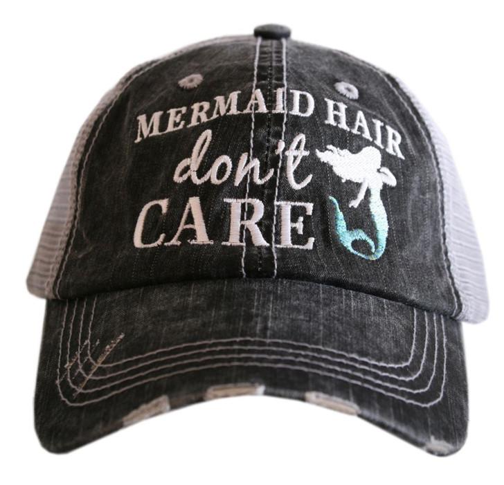"""""""Mermaid Hair, Don't Care"""" Women's trucker hat, grey/blue"""