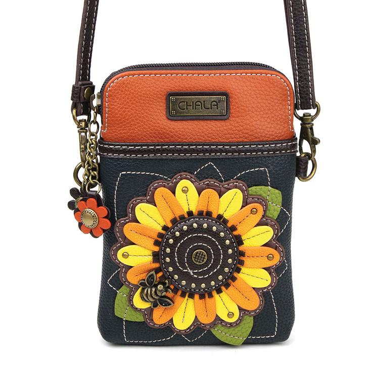 Chala Cell Phone Crossbody - Sunflower Navy