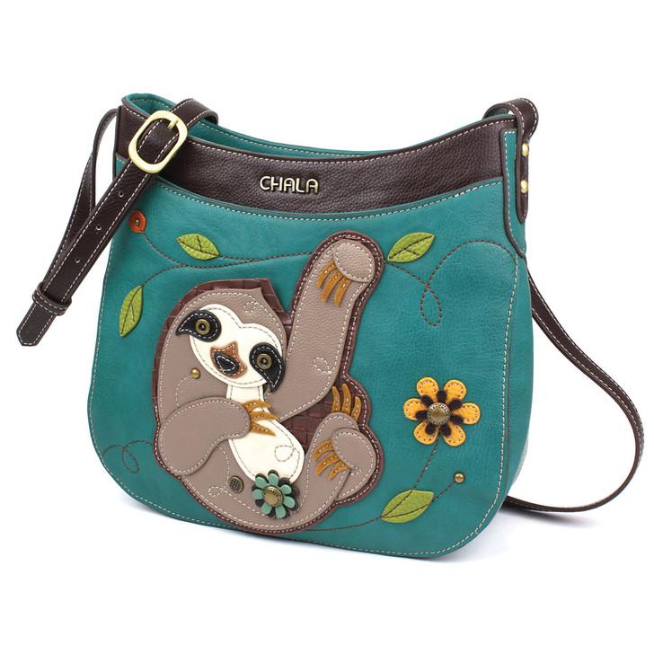 Chala Crescent Crossbody Bag  - Sloth Turquoise