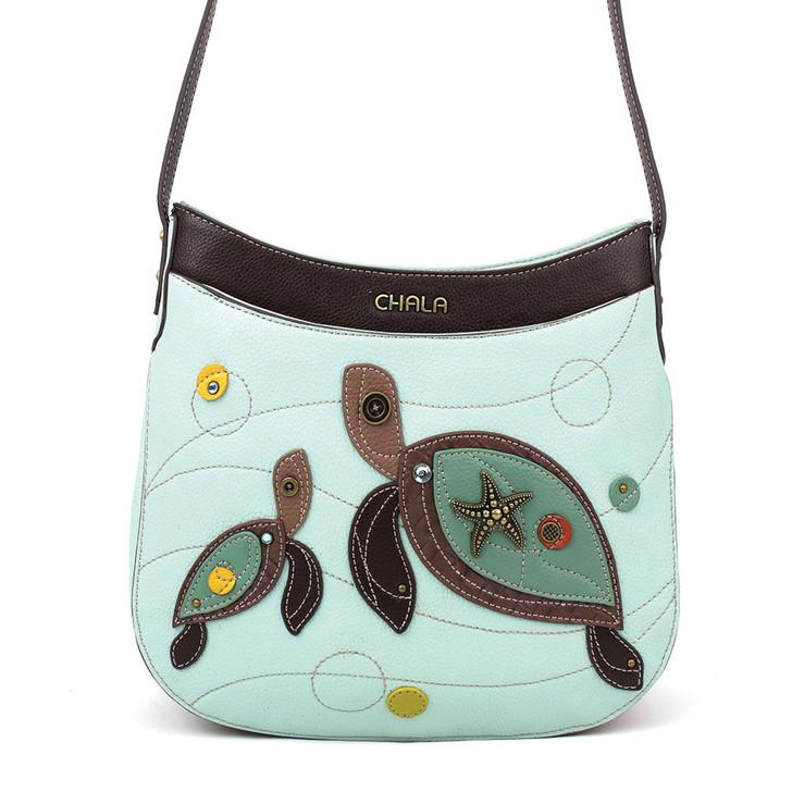 Chala Crescent Crossbody Bag  - Turtles Light Blue