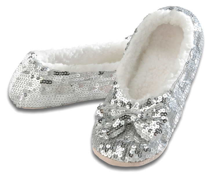 Women's Sequin Ballerina Snoozies!® Slippers - SIlver