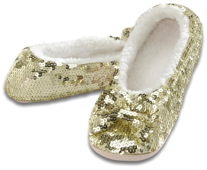 Women's Sequin Ballerina Snoozies!® Slippers - Gold