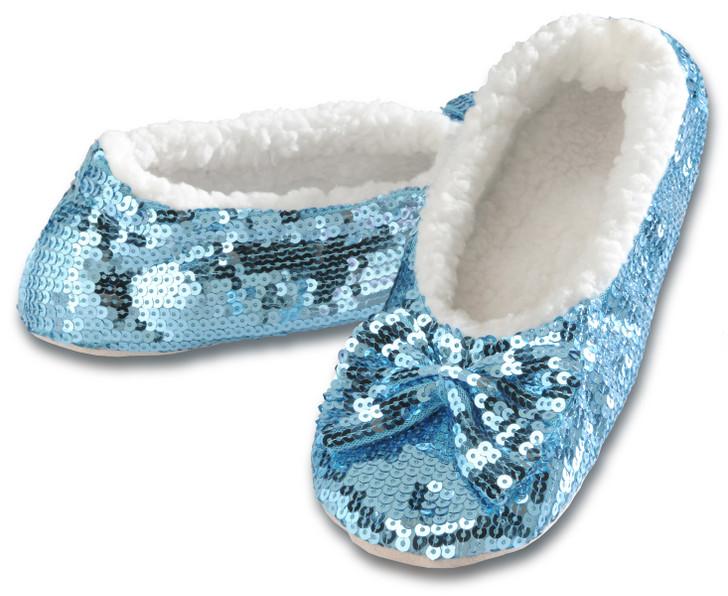 Women's Sequin Ballerina Snoozies!® Slippers -Aqua
