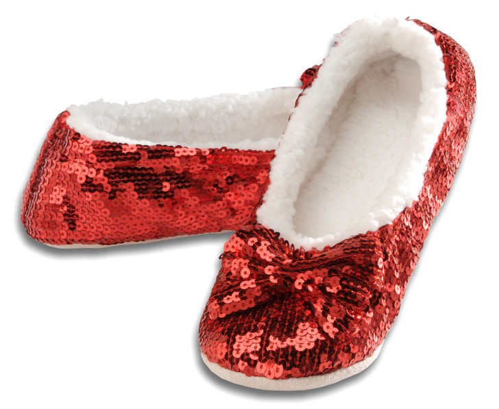 Women's Sequin Ballerina Snoozies!® Slippers - Red