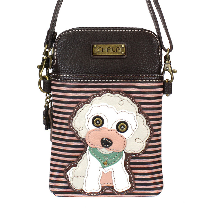Chala Cell Phone Crossbody - Poodle/burgundy stripe