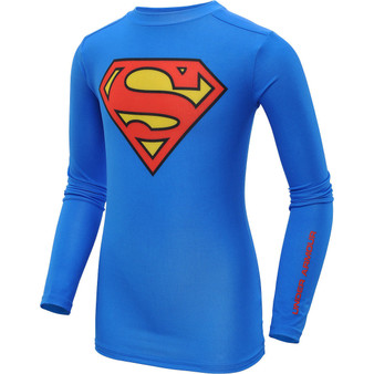 Under Armour Alter Ego Superman Retro Blue L/S Compression Shirt
