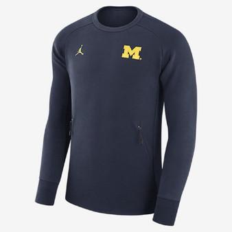 NIKE Michigan Wolverines Blue Jordan Icon Fleece Sweatshirt