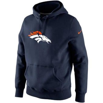 NIKE Denver Broncos Navy Blue Classic Logo Hooded Sweatshirt