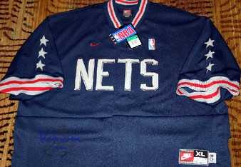 Nike Rewind 1980 New Jersey Nets Blue Warmup Shooting Jersey