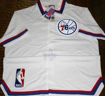 M & N Auth. '88-89 Philadelphia 76ers White Home Warm Up Jacket