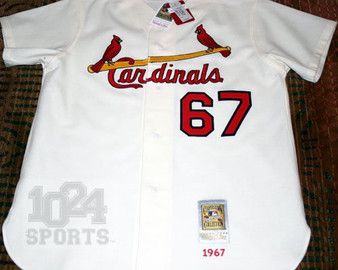 """M & N Auth. 1967 St. Louis Cardinals #67 """"Limited Ed."""" Jersey"""