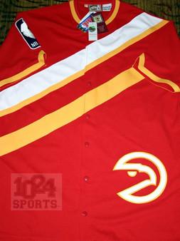 M & N Auth. '86-87 Atlanta Hawks Scarlet Red Warm Up Jacket
