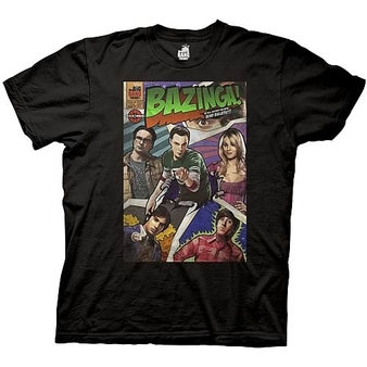 Big Bang Theory Bazinga Comic Cover Black T-Shirt