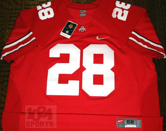 Nike AUTHENTIC #28 Ohio State Buckeyes Red Home Jersey