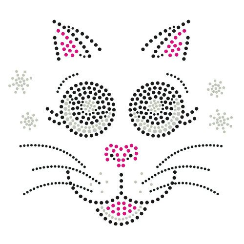 Cute Kitty Cat Face Iron On Clear Rhinestone and Pink Black Rhinestud Transfer