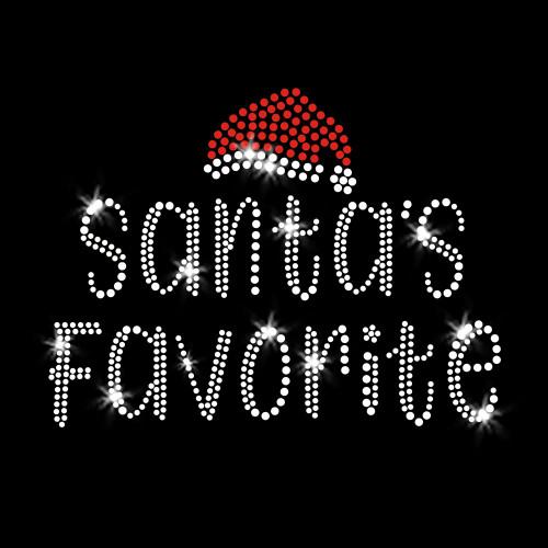Santa's Favorite Christmas Iron On Rhinestone Transfer