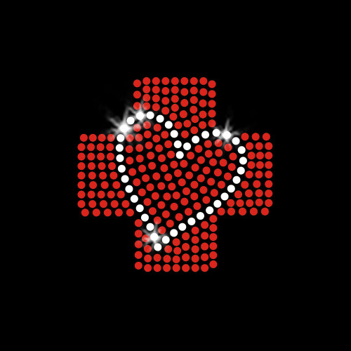 Nursing Red Cross Heart Iron On Rhinestone Transfer