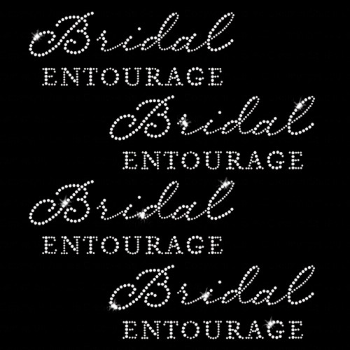 Set of 4 Bridal Entourage Iron On Rhinestone Transfer