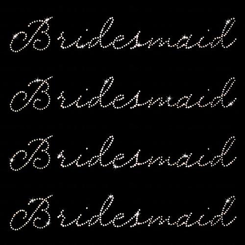 Set of 4 Bridesmaid Iron On Rhinestone Transfers