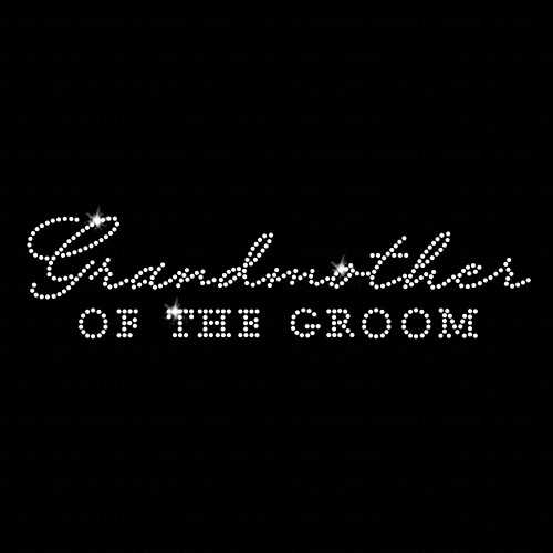 Grandmother of the Groom Iron On Rhinestone Transfer