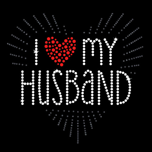 I Love My Husband Iron On Rhinestone Transfer