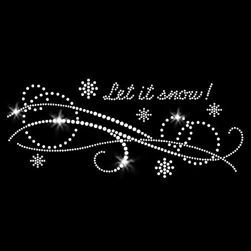 Let It Snow Frozen Snowflake Swirls Iron On Rhinestone Transfer