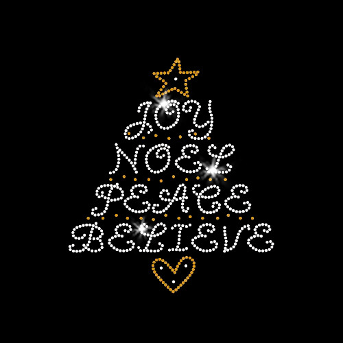 Christmas Word Tree Iron On Rhinestone Transfer