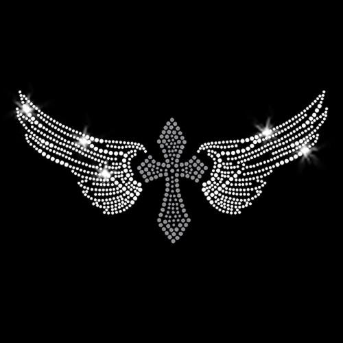 Cross Wings Iron On Rhinestone Transfer