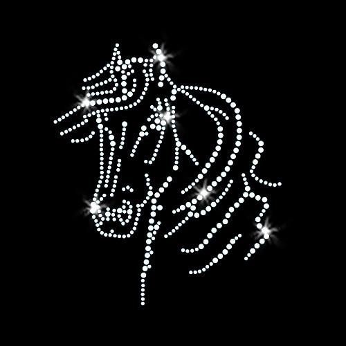 Horse Head Iron On Rhinestone Transfer
